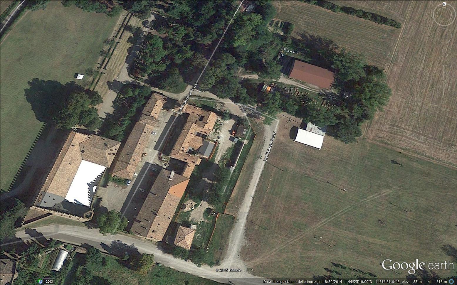 Veduta dell'area satellitare anni 2000 posta a est del Borgo di Palazzo Rossi (google map)